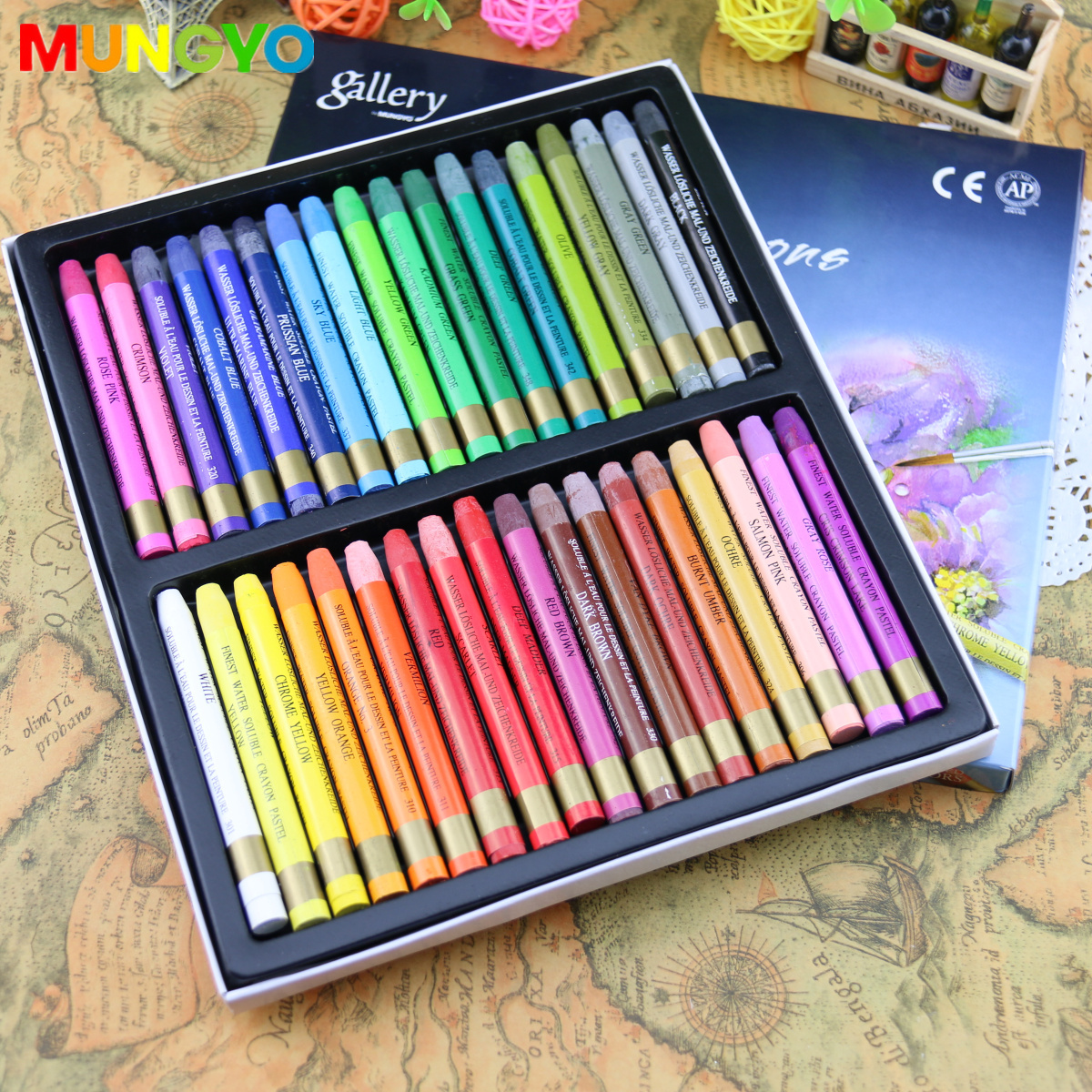 Mungyo Non-toxic Watercolors Crayons 12/24/36 Colors Assorted Set Art Supplies