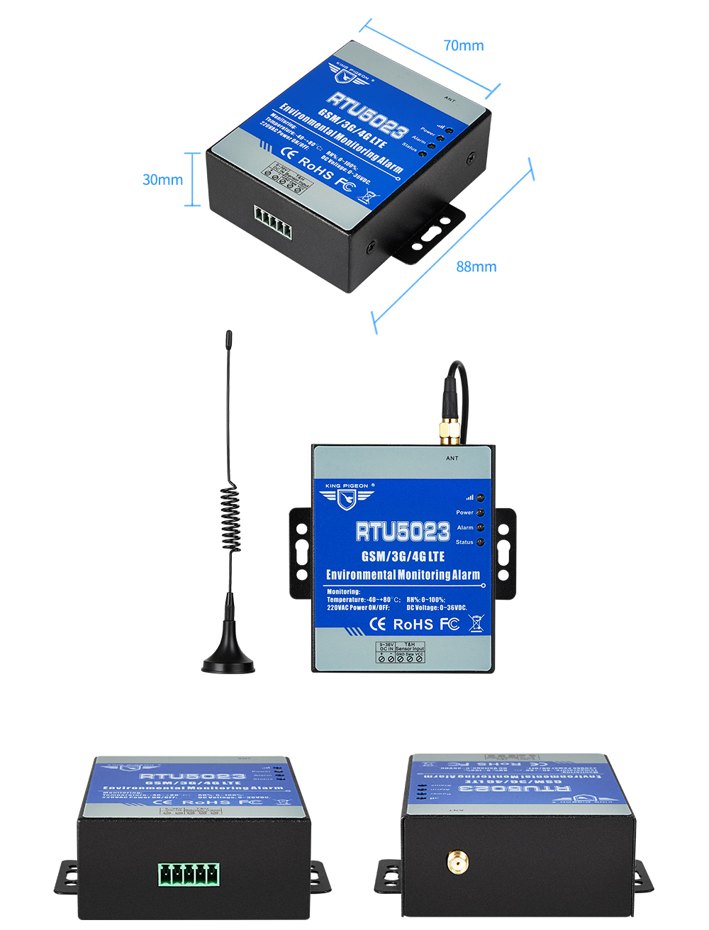 Gsm monitor de umidade temperatura acdc energia
