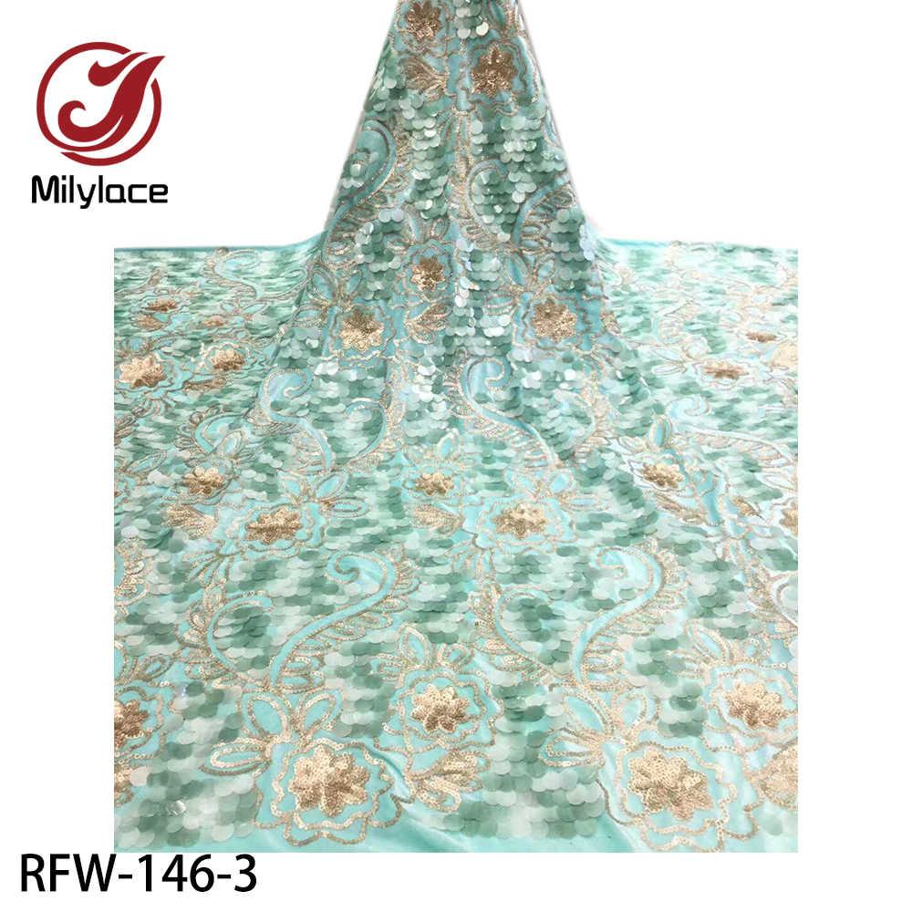 Красивая бархатная кружевная ткань с блестками 2020 Высококачественная блестящая кружевная ткань для невесты кружевные материалы 5 ярдов RFW-146