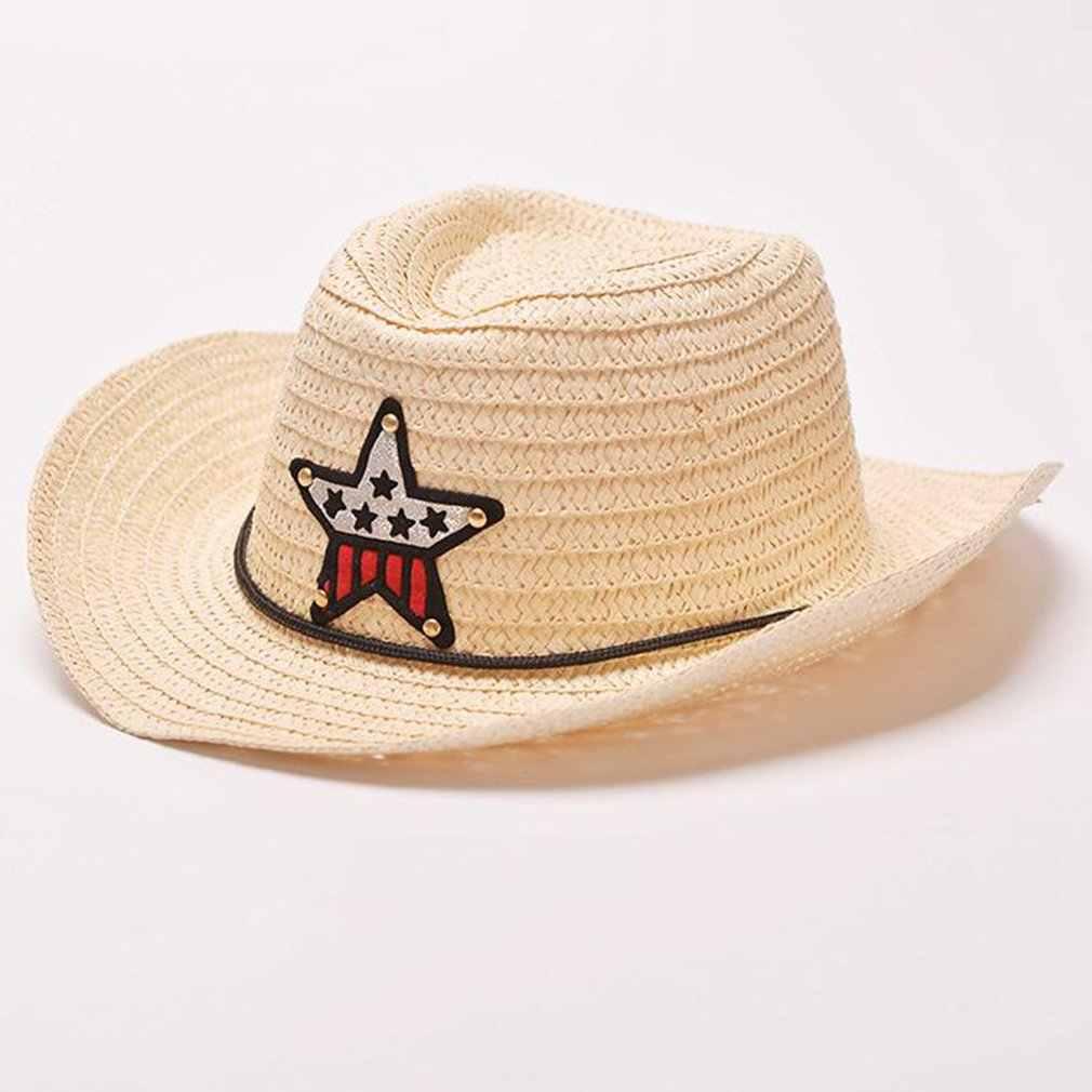 Sombrero de paja para niños sombrero de vaquero de cinco estrellas sombrero de sol Visor sombrero de moda hecho a mano de Jazz lleno de personalidad