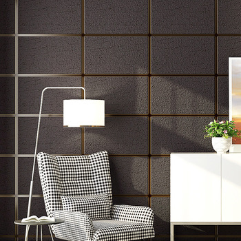 Modern Simple 3D Imitation Marble Tiles Lattice Wallpaper Bedroom Living Room TV Backdrop Flocking Non-woven Striped Wall Paper