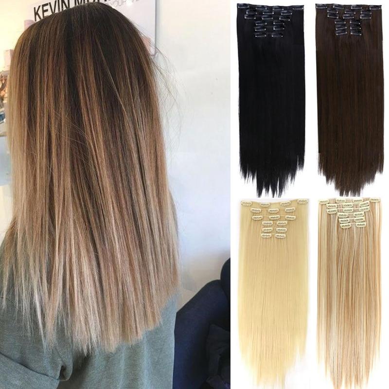 DIANQI 22 Дюйма 16 зажимов длинные прямые волосы термостойкие, толстые Женские синтетические волосы для женщин парики для наращивания Синтетический цельный на клипсе    АлиЭкспресс