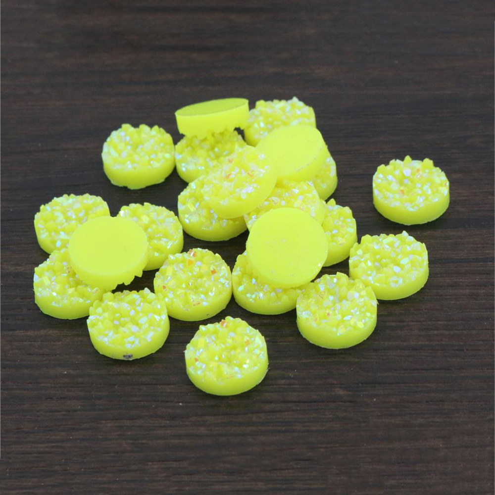 New Fashion 40pcs 12mm Lemon Yellow AB Colors Natural Ore Flat Back Resin Cabochons For Bracelet Earrings Accessories-V4-23