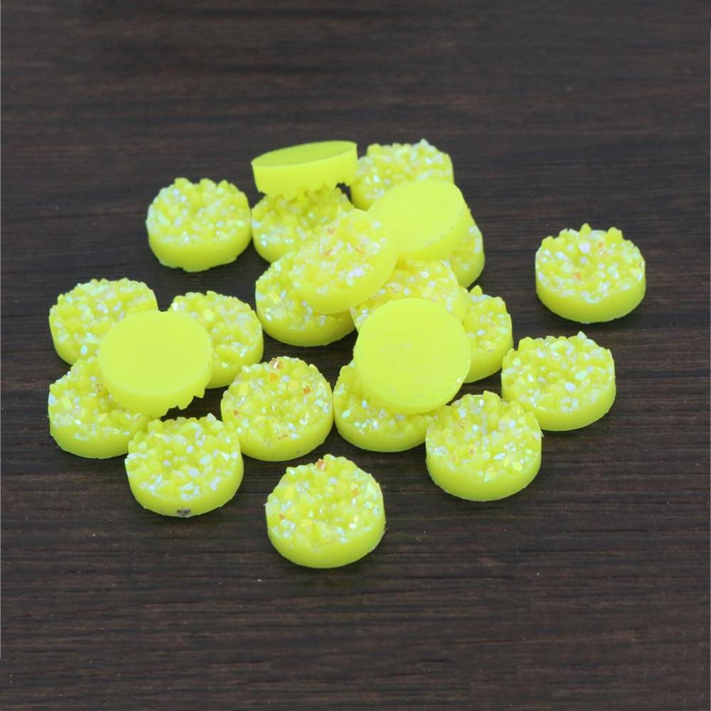 New Fashion 40pcs 12mm Lemon Yellow AB Colors Natural Ore Flat Back Resin Cabochons For Bracelet Earrings Accessories-V4-23