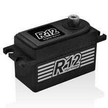 Servo 6.0-8.4v da engrenagem do metal sem escova do torque alto de hd r12 12 kg para o carro bonde de rc 1/10
