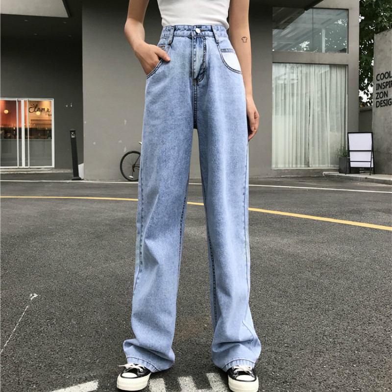 Woman Jeans Long-Trousers Mom Denim Pants Streetwear Vintage Blue Wide Casual Korean title=