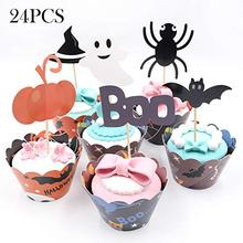 METABLE Cupcake Toppers Wrappers Liners 24 Pieces Pumpkin Boo Elf/Ghost Spider Witchs Hat and Bat for Halloween Party Cake DECO