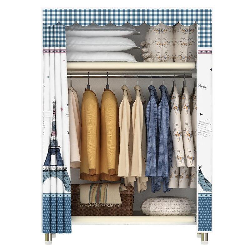 Wardrobe Simple Cloth Wardrobe Single Steel Tube Thickening And Reinforcement Oxford Cloth Art Receiving Shelf Rental Wardrobe N