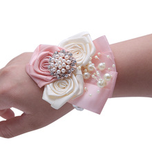 Wrist Flower Bridal Hand Ornament Bouquet Wedding Decor Brooch with Rhinestone Pearl цена 2017