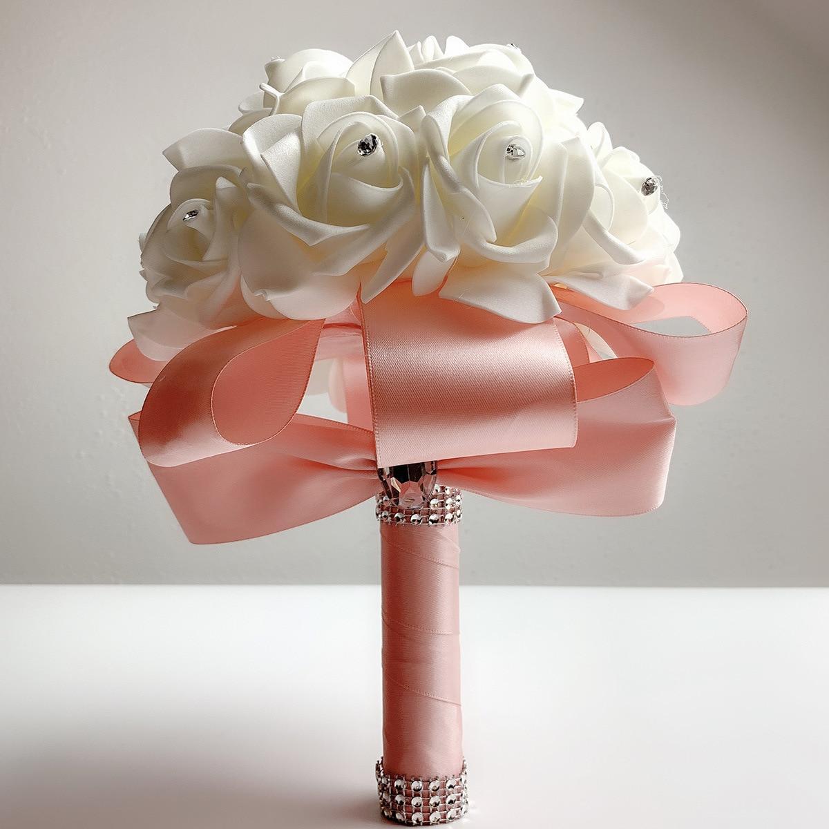 2019 Good Quality Cheapest PE Rose Bridesmaid Wedding Foam Flowers Rose Bridal Bouquet Ribbon Fake Wedding Bouquet De Noiva