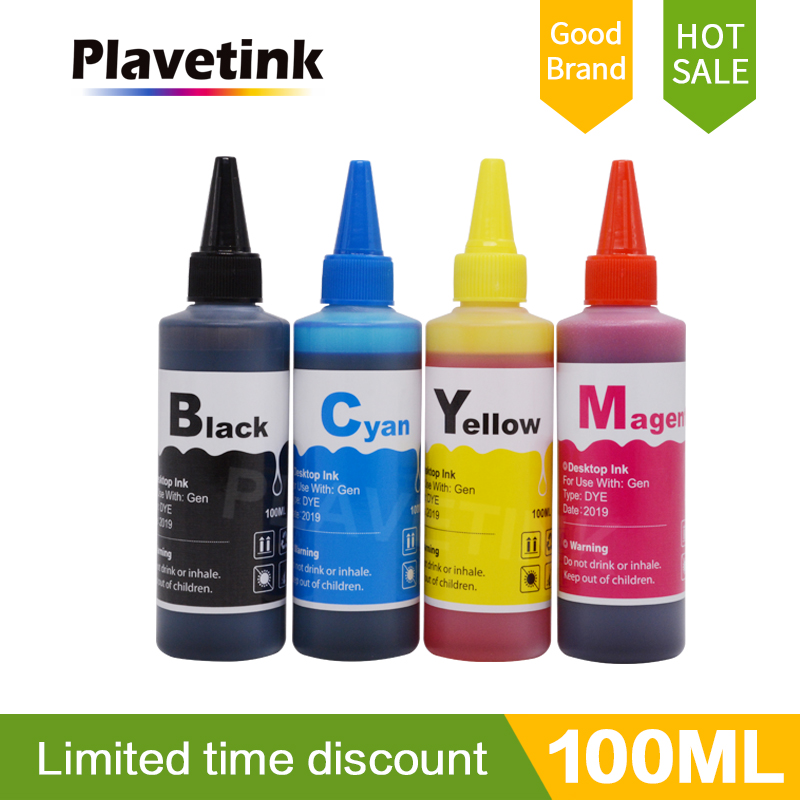 Plavetink Printer Ink for Canon For Epson For HP For Brother Ink Refill Kit 100ml Bottle 4 Color Dye Ink Paint For Ciss Tank