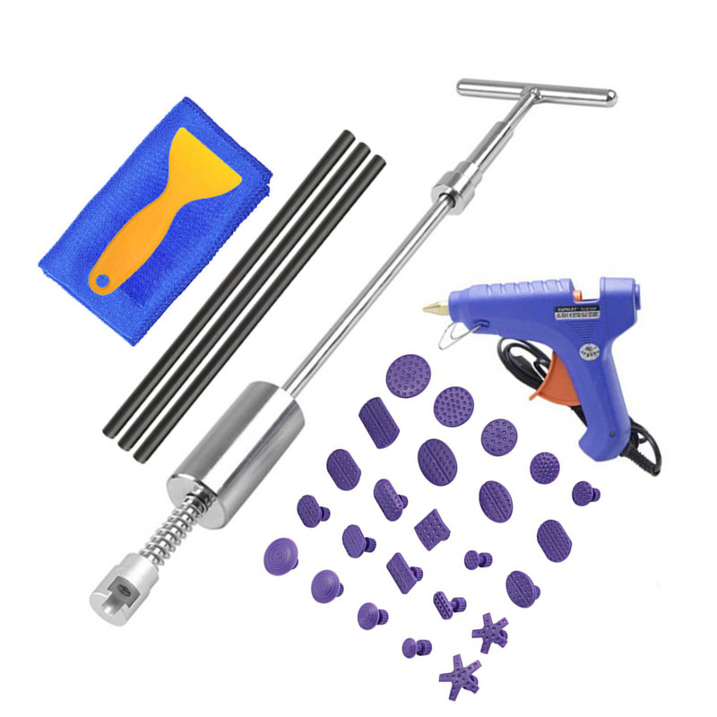 PDR Tools Car Dent Repair Tools Slide Hammer Kit Reverse Hammer PDR Glue Tabs Dent Removal Tools  Auto Accessories-Silver Metal