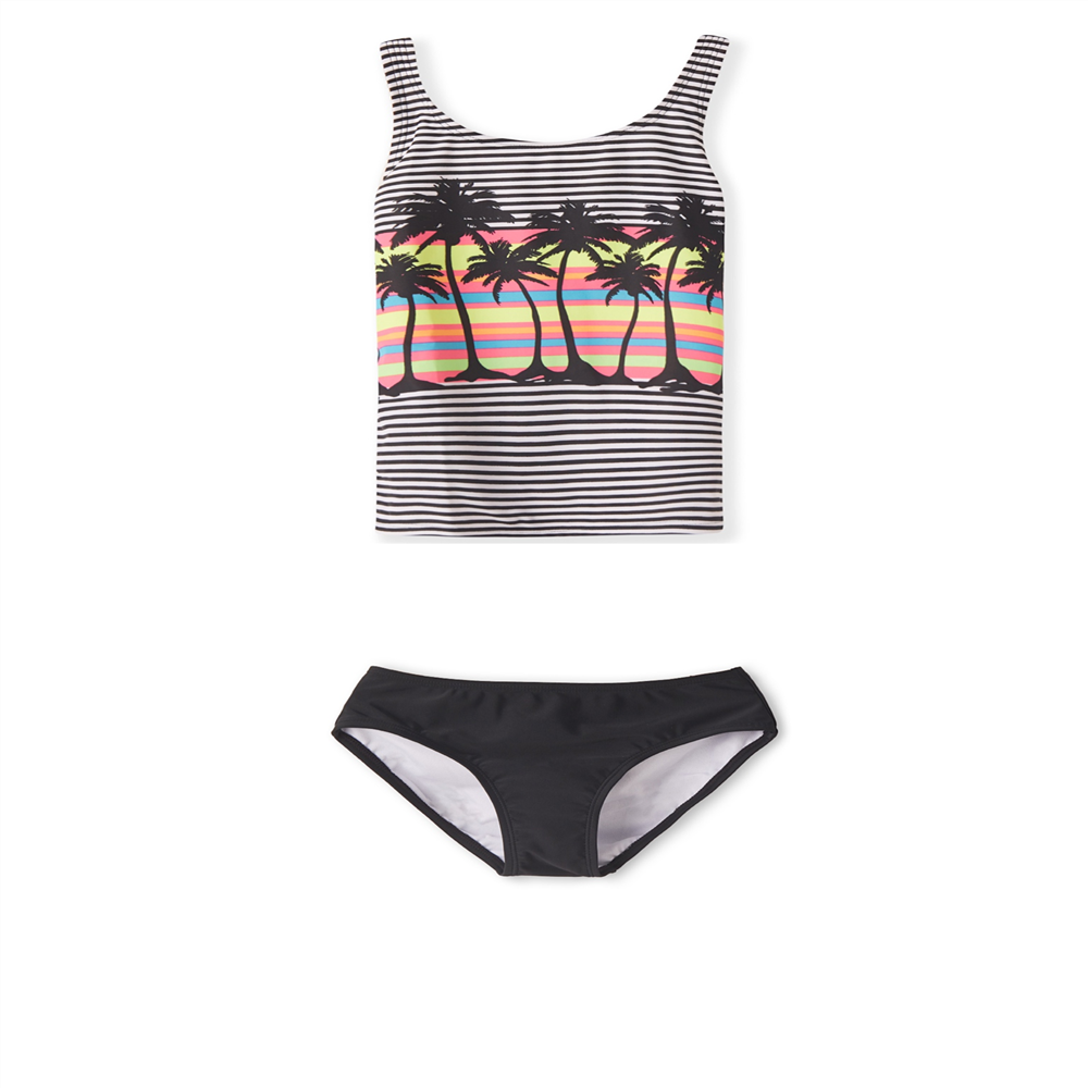 Girls Two Pieces Swimsuit Tankini Set Girl Swimsuit Kids Beach Coconut Tree Print Black And White Striped Vest Style Swimsuit