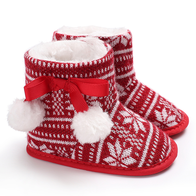 Christmas Cartoon Plush Winter Warm Baby Boots Elk Print Booties Newborn Baby Girls Boys Snow Shoe Winter Soft Sole First Walker