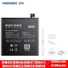 NOHON BM45 BM46 BM47 BN41 BN43 BM22 BM35 BM36 Battery For Xiaomi Redmi 3 3S 3X 4X Note 2 3 4 4X Mi 5 4C 5S Replacement Bateria