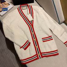 New Sweater Striped Heavy Jacquard Cardigan In Early Autumn of 2019 V-Neck Cardigans Womens