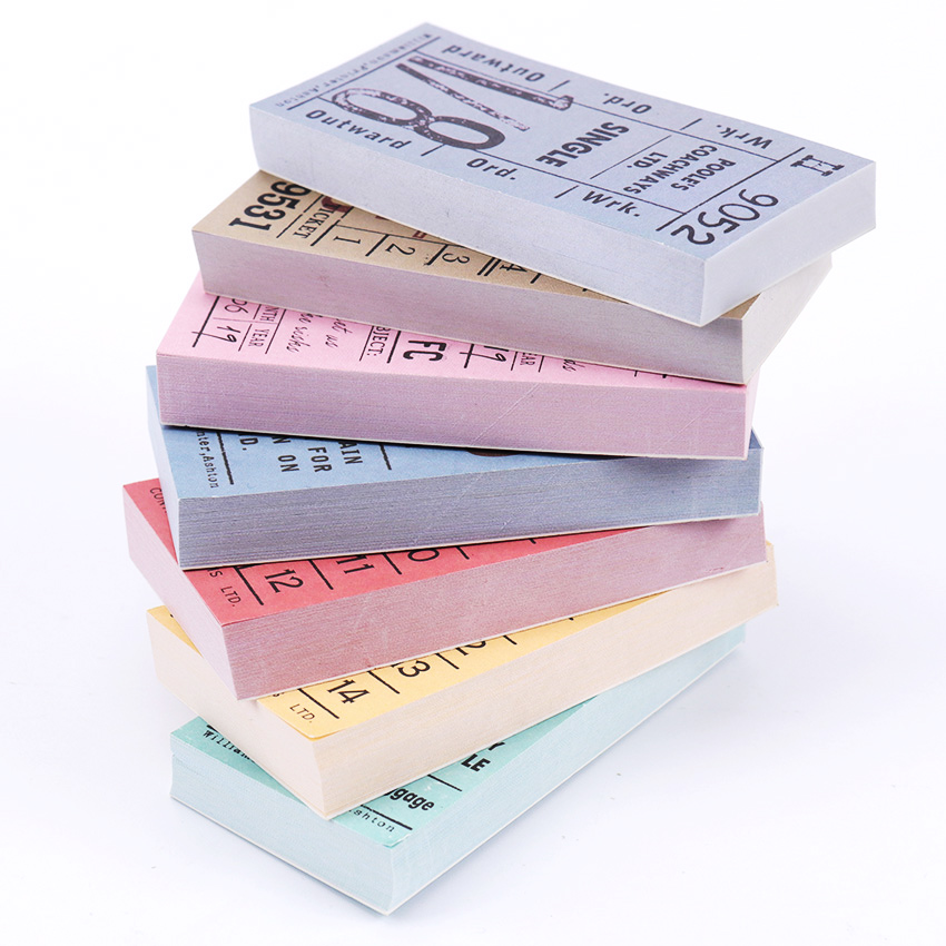 1PC/100 Sheets Stationery Retro Ticket Series Memo Pad Cute Sticky Notes School Supplies For Kids Bookmark Notepad Label