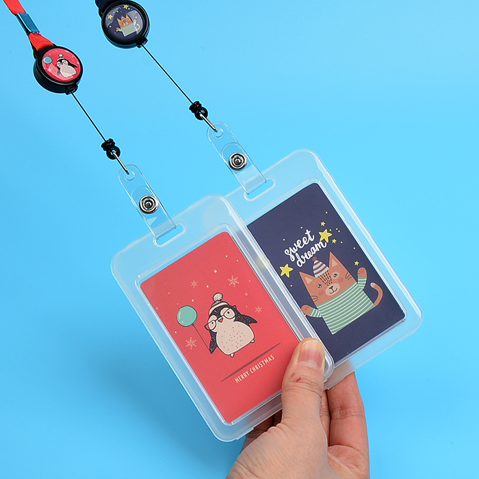 1PCS Cute Retractable Badge Holder With Badge Lanyard Card Case Set