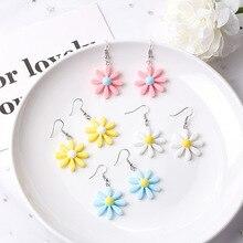 2020 new ins fresh candy color daisy resin flower earrings sun flower earrings