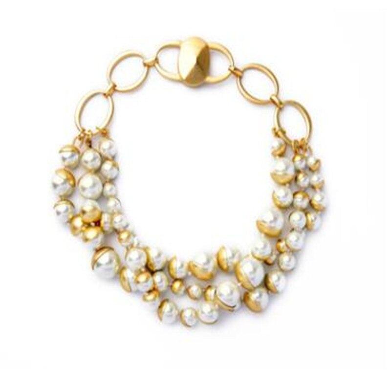 Gros bijoux de mode verre perle dames collier court