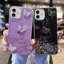 Glitter Bling Case For Samsung A82 A50 A32 A10 Case Silicon J2 J5 J7 Prime J6 J4 Plus Note 8 9 10 Lite 20 Ultra Butterfly Cover