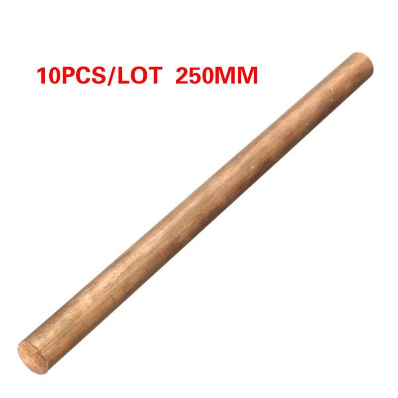 10pcs/lot  3mm Diameter Copper Round Bar Rod Milling Welding Metalworking 250mm Length