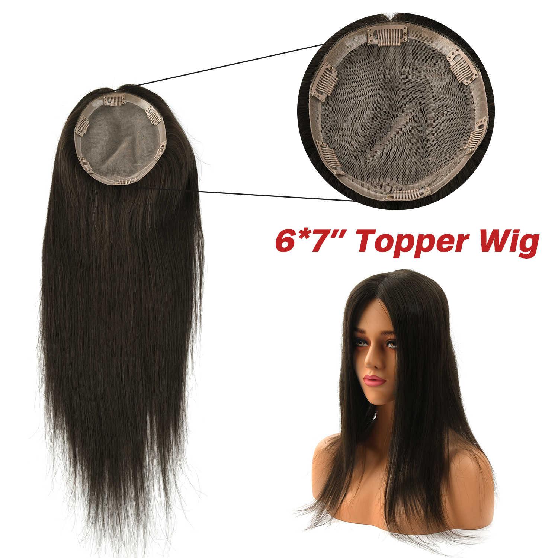 """Mw 14 """"6*7"""" Zijde Basis Remy Haar Topper Pruik Met 6 Clips In Natural Straight Virgin cuticula Menselijk Haar Toupet Stukken Voor Vrouwen"""