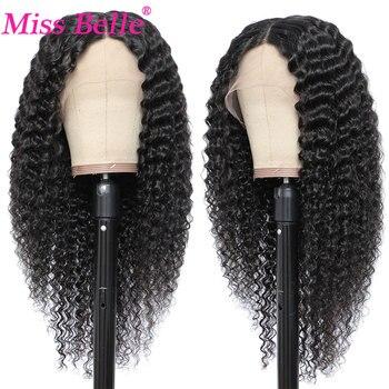 Peruka z mocnymi lokami peruki z ludzkich włosów dla kobiet 13x1 T częściowo koronka peruka przezroczysty 4X4 zamknięcie koronki brazylijski kręcone ludzkie włosy peruka Miss Be