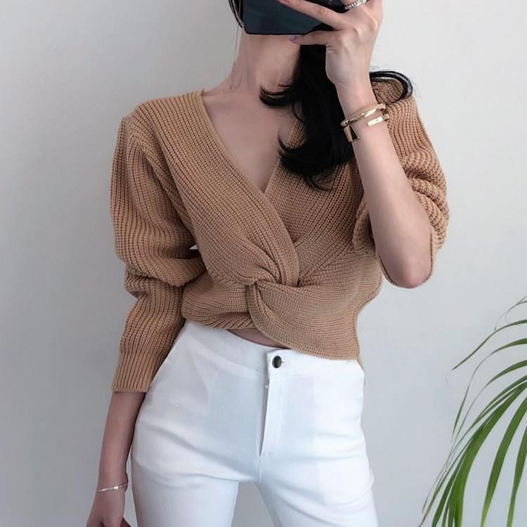 Nice Korean Knitted Jumpers Pullovers Long Sleeve V Neck Sweater Women Top Vintage Criss-Cross Twisted Cropped Sweater