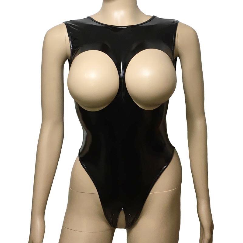 Женское сексуальное белье, Тедди, блестящее глянцевое боди с открытой грудью из искусственной кожи, боди с открытой промежностью, трико, эро...