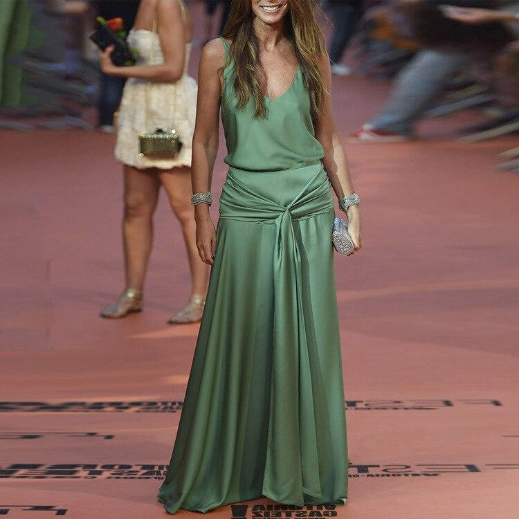 Vintage Sexy sans manches Spaghetti sangle robes de soirée solide Maxi robe de fête vert bohème plage Vestido grande taille 3XL