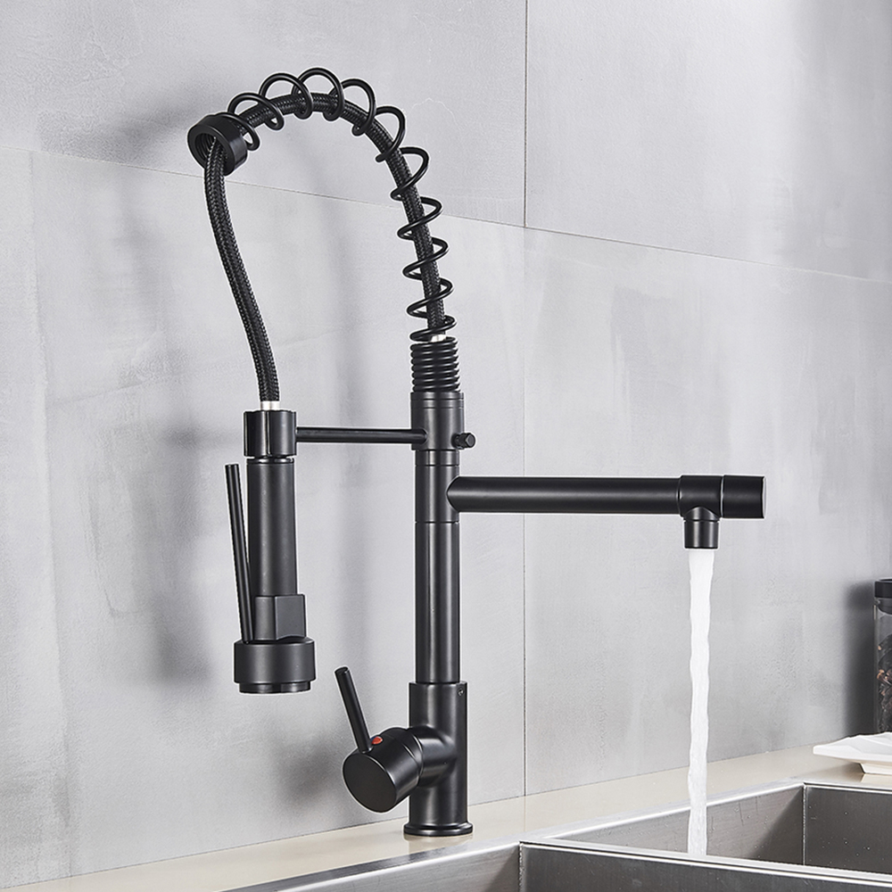 Uythner Black Brass Kitchen Faucet Vessel Sink Mixer Tap Spring Dual Swivel Spouts Hot and Cold Uythner Black Brass Kitchen Faucet Vessel Sink Mixer Tap Spring Dual Swivel Spouts Hot and Cold Water Mixer Tap Bathroom Faucets