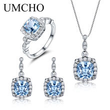 UMCHO 925 Sterling Silver Jewelry Set Sky Blue Topaz Ring Pendant Stud Earrings For Women Wedding Valentine's Gift Fine Jewelry(China)