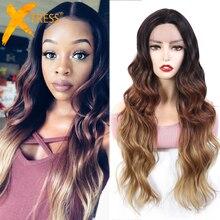 Парики из синтетического кружевного фронта для черных женщин, парики из темного и коричневого цвета, длинные волнистые волосы средней части с естественным X TRESS для волос