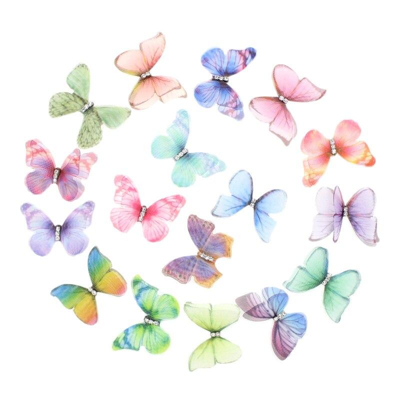 50 adet degrade renk organze kumaş kelebek aplikler 38Mm saydam şifon kelebek parti dekor  bebek süsleme title=