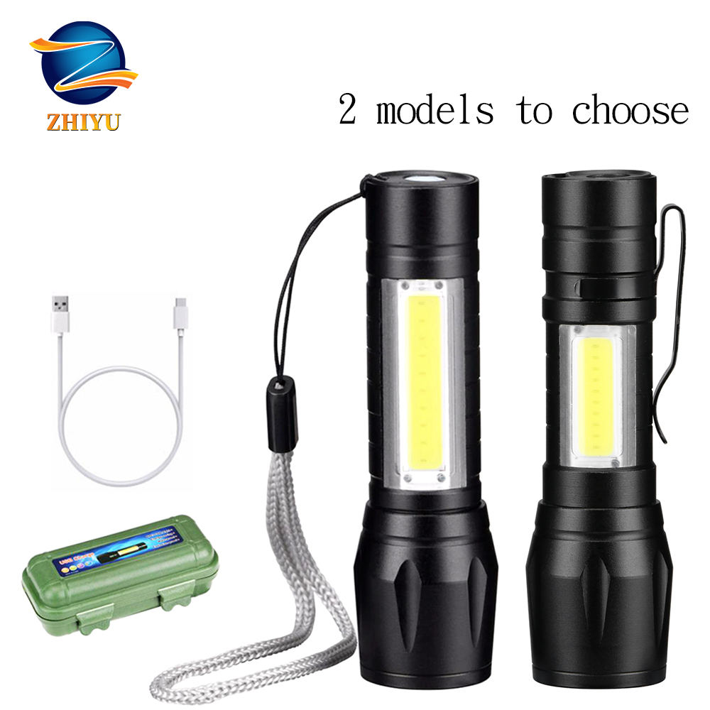 ZHIYU Rechargable Portable LED Flashlight COB+XPE LED Torch Waterproof Camping Lantern Zoomable Focus Light Tactical Flashlight