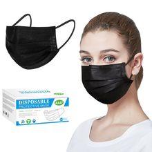 Mascarillas faciales desechables para Halloween, máscara de tela transpirable a prueba de polvo con filtro de 3 capas, color negro, 50 Uds.