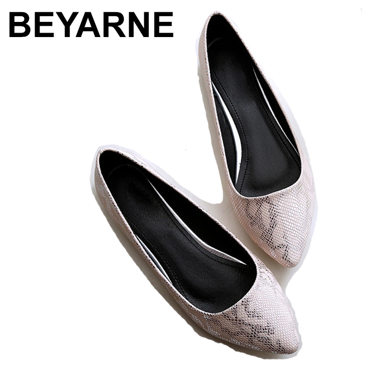 BEYARNEPointed Toe Summer Shoes For Women Flat Shoes  Spring Small Size 33 Large 41-45 Individual Shoes Woman Snake Skin Pattern