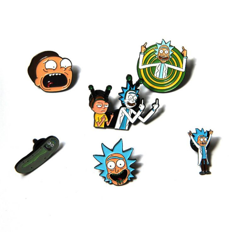 Cartoon Anime Rick And Morty Peripheral Brooch Halloween Stage Performance Masquerade Party Cosplay Prop Student Metal Badge