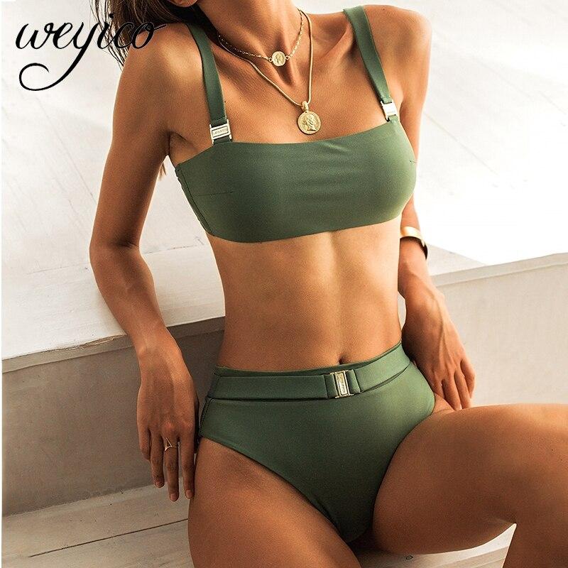 Bikini Set High Waist Women Sexy Swimwear Straps Bathing Suit Swimming Beach Wear Bikinis Mujer Brazilian Swimsuit Female 2020