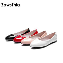 ZawsThia 2020 Classis Ladies Ballet Flats Shoes Women Loafers Slip On Ballerina Flat Patent PU Leather Round Toe Big Size 48 52