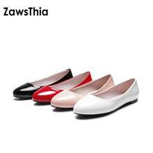 Zawsthia 2020 mocassins femininos em couro pu, sapatos de mulher baixos, slip on, balerina lisa, patente, dedo do pé redondo, tamanho grande 48 52