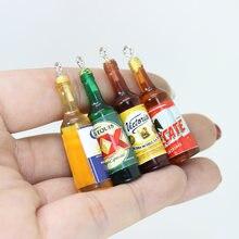 Yamily 10 pçs/40*11mm resina simulação 3d mini copo de cerveja garrafa charme pingente para pulseira brinco chaveiro jóias diy fazendo