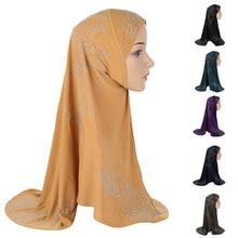 라인 석 Hijab 이슬람 여성 원피스 Amira 이슬람 Headscarf 목도리 랩 Khimar 아랍기도 Hijabs 모자 모자 가슴 커버 라마단