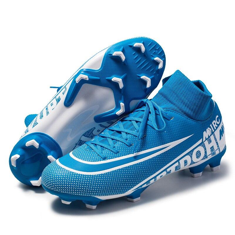 Original Soccer Shoes Men Breathable Outdoor High-top Football Boots Turf Soccer Cleats Kids AG Football Shoes Chuteira Futebol