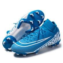 Oryginalne buty piłkarskie męskie oddychające na zewnątrz wysoko górne korki Turf Soccer Cleats Kids AG korki chuteira futebol