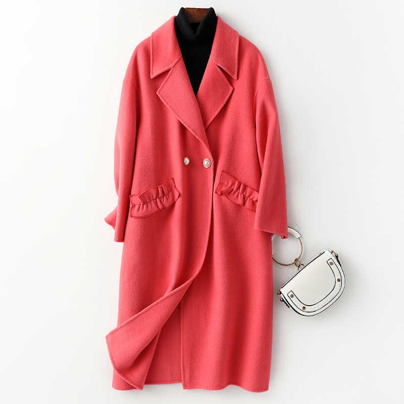 Echt Pelzmantel Weibliche Wolle Jacke Herbst Winter Mantel Frauen Kleidung 2020 Koreanische Vintage Woll Mantel Lange Tops ZT5139