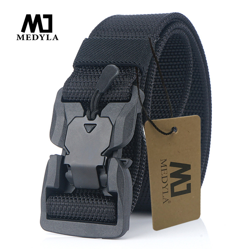 MEDYA NEW Military Equipment Combat Tactical Belt For Men US Army Training Nylon Magnetic Buckle Waist Belt Outdoor Hunting Belt