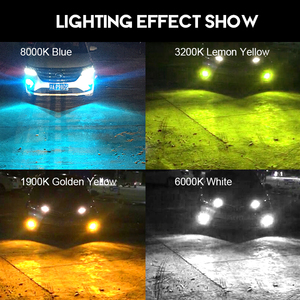 Image 2 - CNSUNNYLIGHT H11 H8 otomobil LED sis farı ampuller H9 H16 9005 9006 2400Lm 6000K beyaz 1900K sarı 8000K mavi otomatik DRL sis lambası 2 adet