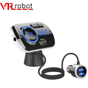 VR robot Bluetooth V5.0 EDR Handsfree Car Kit FM Transmitter 3.5mm Aux Car Audio MP3 Player QC3.0 Quick Charge with LED Light